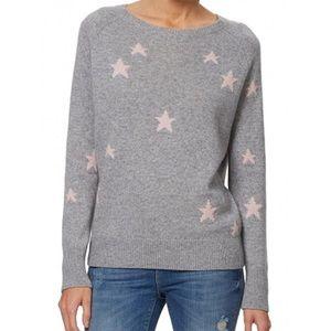 360 Cashmere Stella Sweater Grey & Rose Star Print